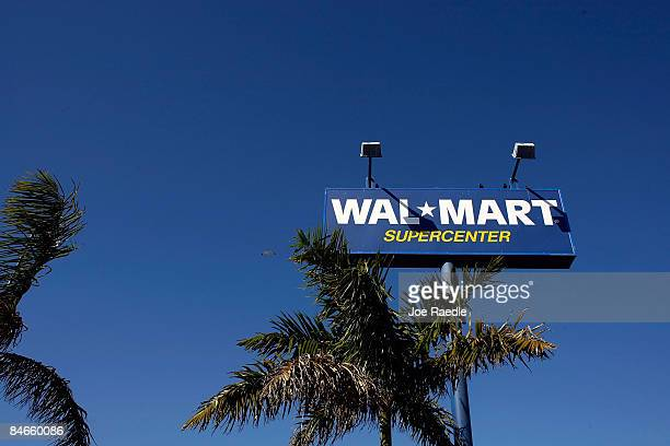 WalMart store sign is seen on February 5 2009 in Miami Florida WalMart the world's largest retailer beat Wall Street's forecast when January...