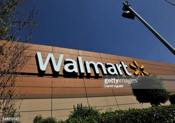 WalMart store signage is seen from the store lot on April 23 2012 in Mexico City Mexico According to reports WalMart de Mexico orchestrated a...