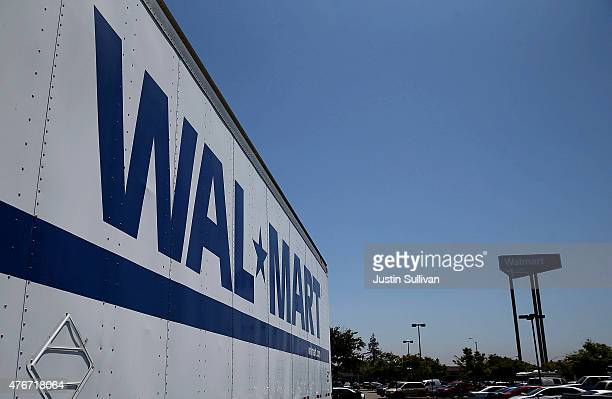 WalMart truck trailer sits in the parking lot of a WalMart store on June 11 2015 in San Leandro California A federal judge has ruled that WalMart...