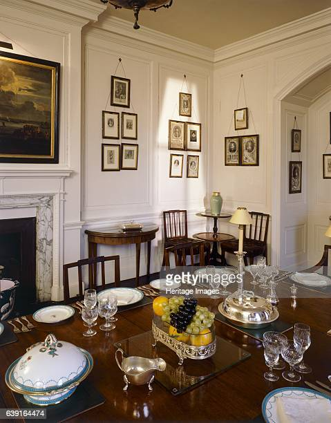 Walmer Castle Kent c19902010 Interior viewThe Dining room table set for dinner with the Queen Mother's silver china ware As Lord Warden of the Cinque...