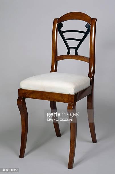 Walnut and ebonized wood chair ca 1825 Austria 19th century