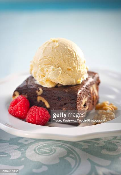 Walnut chocolate brownie with vanilla ice cream