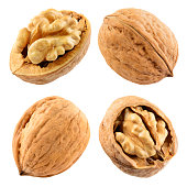 Walnut isolated on the white. With clipping path. Collection.