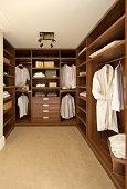 walnut walk-in wardrobe