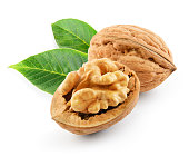 Walnut with leaves isolated on the white background. With clipping path.