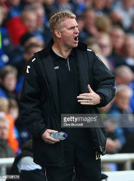 Walsall manager Dean Smith shows his emotions during the Sky Bet League One match between Oldham Athletic and Walsall at Boundary Park on October 11...