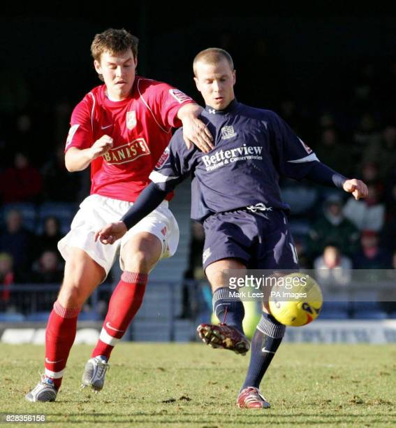 Walsall's Andrew Barrowman challenges Southend's Luke Guttridge during the CocaCola League One match at Roots Hall Southend Saturday February 25 2006...