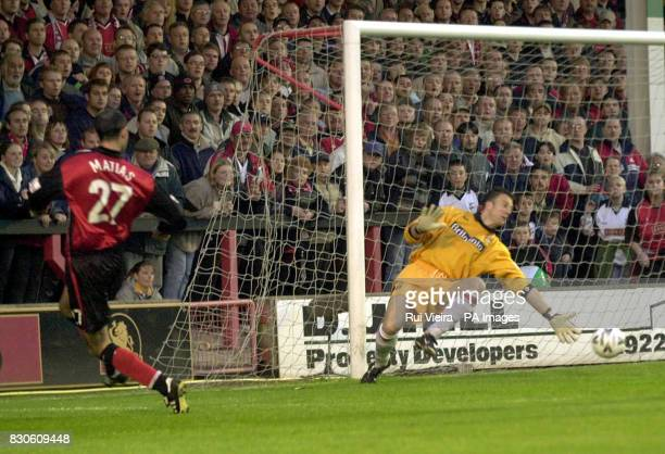 Walsall's Pedro Matias puts the ball past Stoke City's goalkeeper Gavin Ward to score during the Division Two PlayOff SemiFinal Second Leg game at...