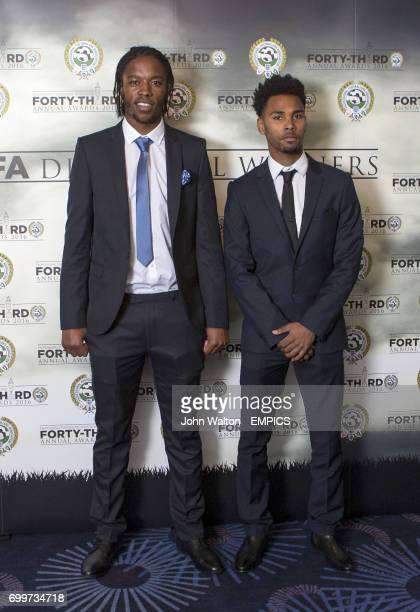 Walsall's Romain Sawyers and Rico Henry during the PFA Awards at the Grosvenor House Hotel London
