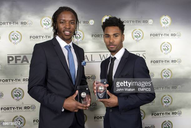 Walsall's Romaine Sawyers and Rico Henry with their PFA League One Team of the Year Awards during the PFA Awards at the Grosvenor House Hotel London
