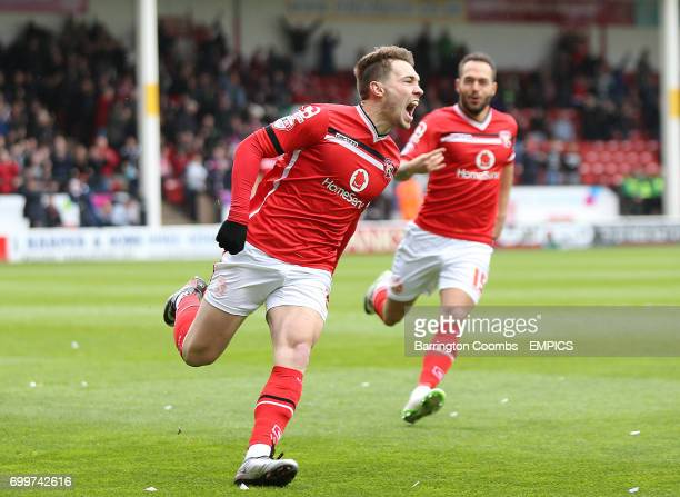 Walsall's Tom Bradshaw celebrates scoring his sides first goal of the match
