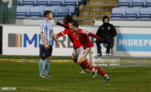 Walsall's Tom Bradshaw celebrates scoring their first goal