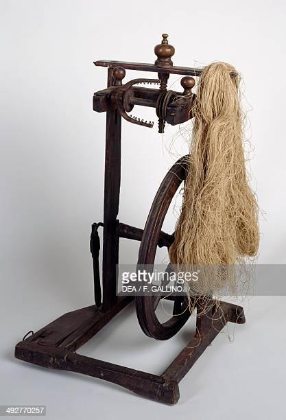 Walser spinning wheel in wood Piedmont Italy 19th century Borca Di Macugnaga Casa Museo Walser