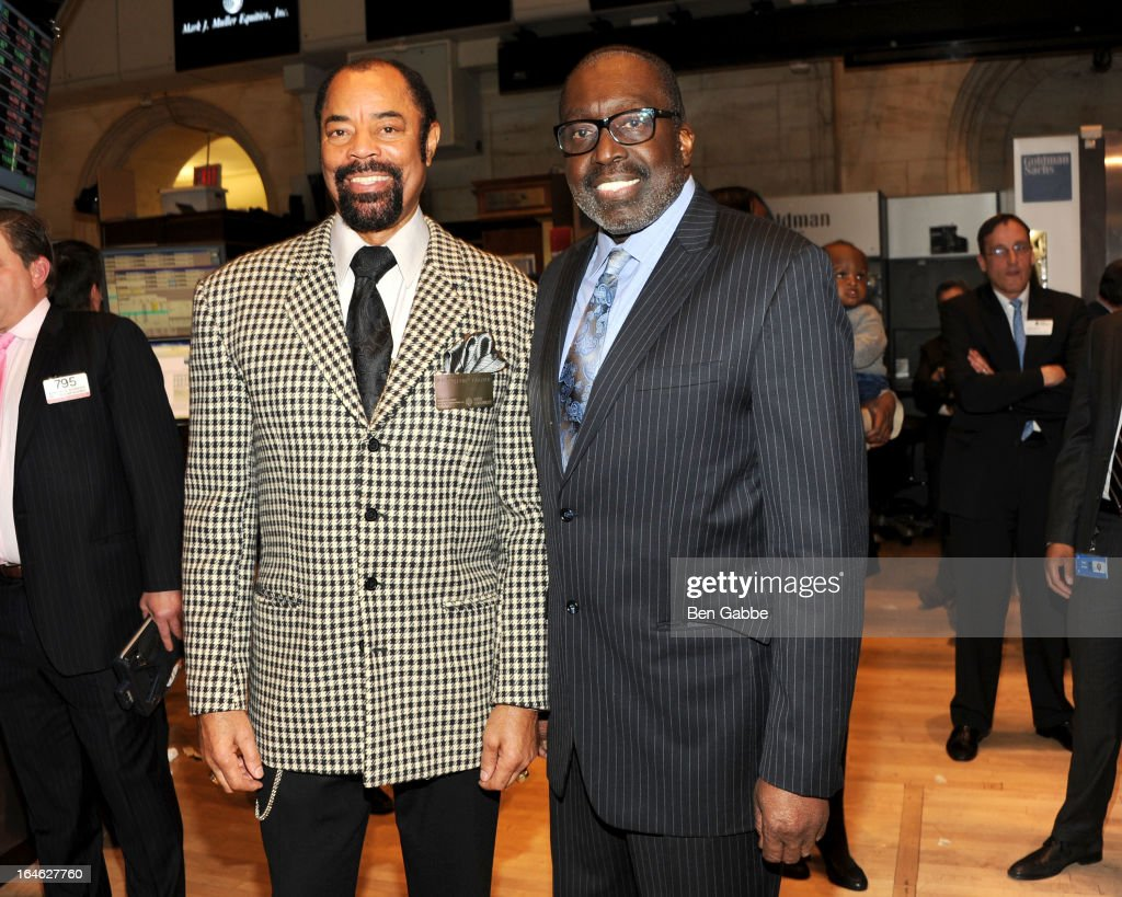 Walt 'Clyde' Frazier (L) and Earl 'The Pearl' Monroe visit the New York Stock Exchange and Ring The Closing Bell to Highlight the Crown Heights Youth Collective on March 25, 2013 in New York City.