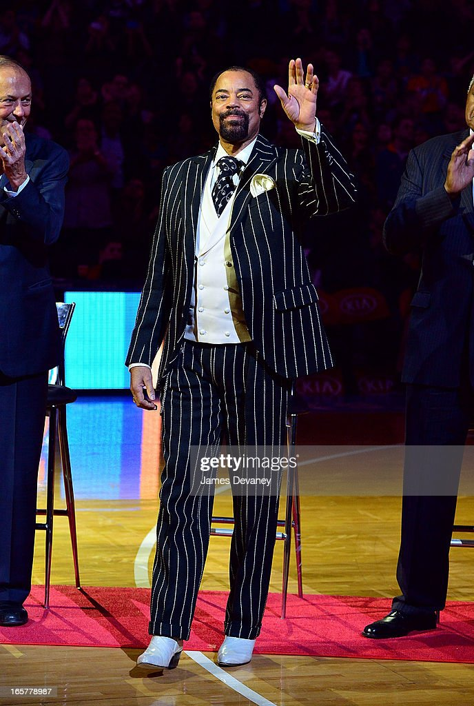 Walt 'Clyde' Frazier attends the Milwaukee Bucks vs New York Knicks game at Madison Square Garden on April 5, 2013 in New York City.