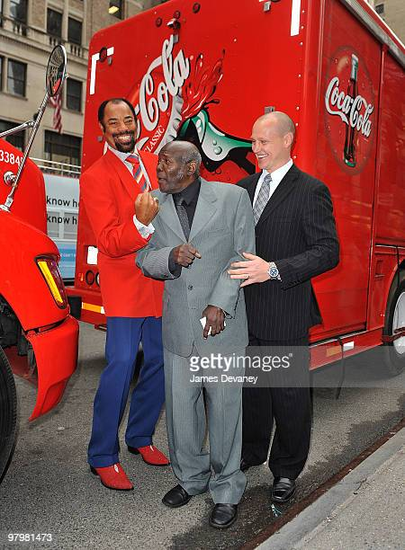 Walt 'Clyde' Frazier Emile Griffith and Adam Graves attend the MSG CocaCola 100 years of partnership celebration at Madison Square Garden on March 23...