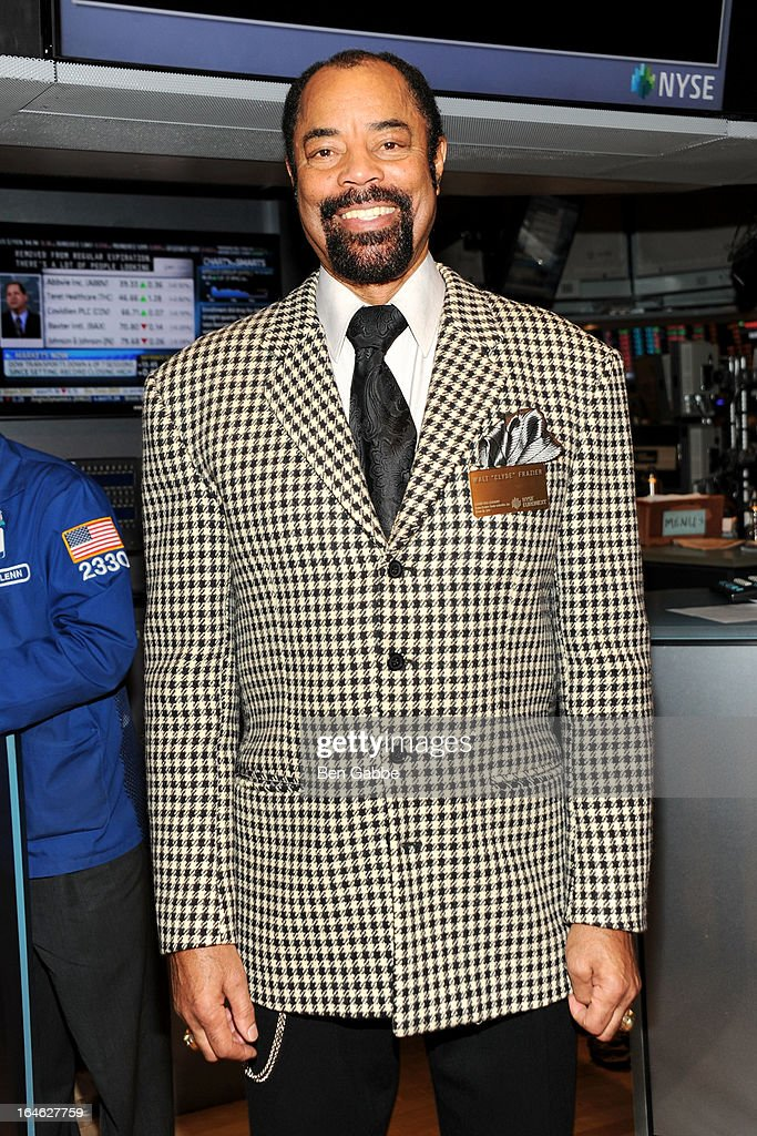 Walt 'Clyde' Frazier visits the New York Stock Exchange and Ring The Closing Bell to Highlight the Crown Heights Youth Collective on March 25, 2013 in New York City.