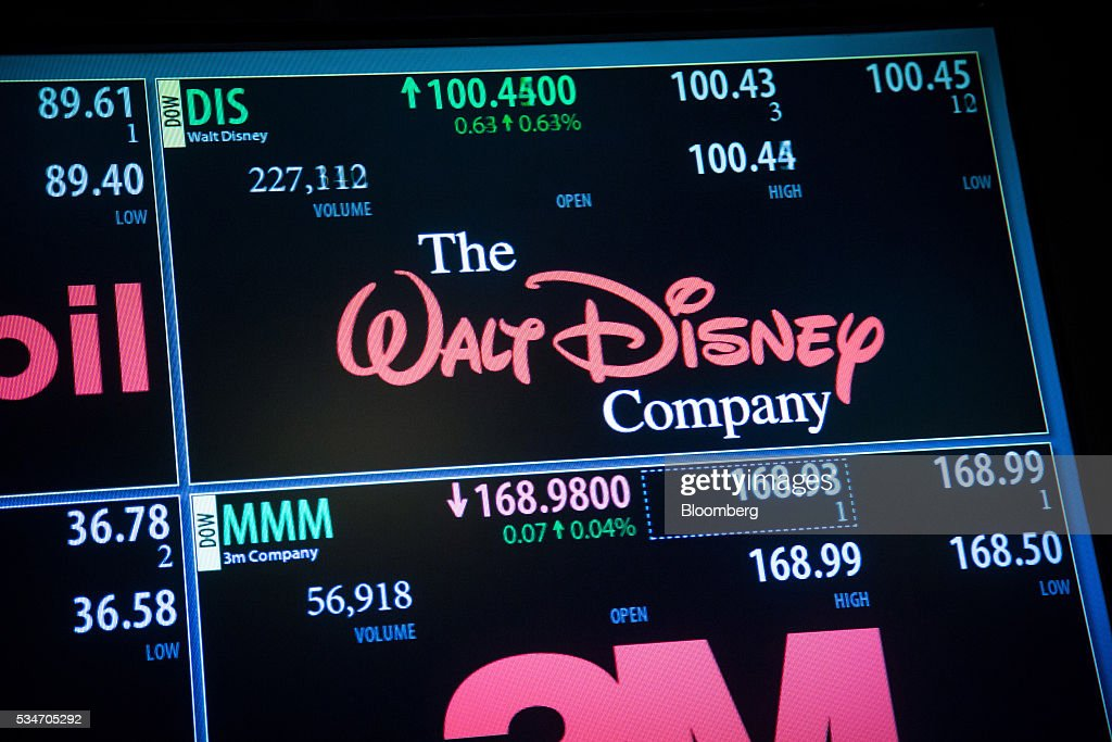 Walt Disney Co. signage is displayed on a monitor on the floor of the New York Stock Exchange (NYSE) in New York, U.S., on Friday, May 27, 2016. U.S. stocks edged higher, with the S&P 500 on course for its biggest weekly advance since March, while investors awaited remarks from Federal Reserve Chair Janet Yellen for hints on the timing of the next interest-rate increase. Photographer: Michael Nagle/Bloomberg via Getty Images