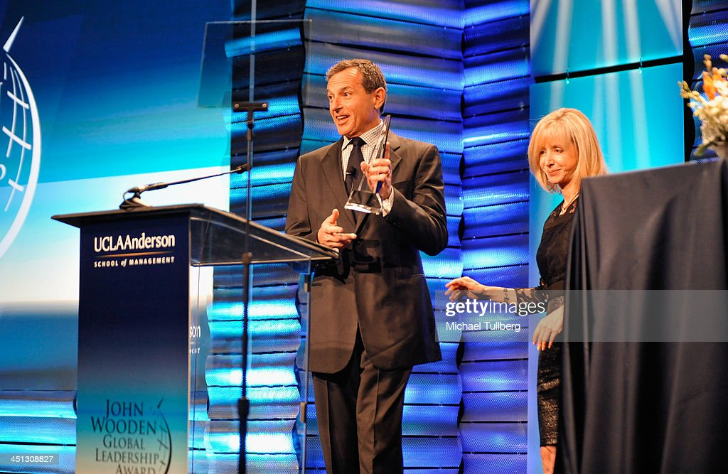 Walt Disney Company Chairman <a gi-track='captionPersonalityLinkClicked' href=/galleries/search?phrase=Bob+Iger&family=editorial&specificpeople=171211 ng-click='$event.stopPropagation()'>Bob Iger</a> accepts the 2013 John Wooden Global Leadership Award, hosted by the UCLA Anderson School of Management at The Beverly Hilton Hotel on November 21, 2013 in Beverly Hills, California.