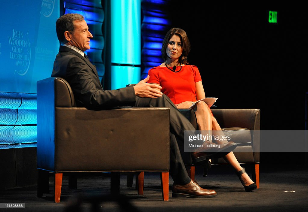 Walt Disney Company Chairman <a gi-track='captionPersonalityLinkClicked' href=/galleries/search?phrase=Bob+Iger&family=editorial&specificpeople=171211 ng-click='$event.stopPropagation()'>Bob Iger</a> and news correspondent Cecelia Vega speak at the 2013 John Wooden Global Leadership Awards hosted by the UCLA Anderson School of Management at The Beverly Hilton Hotel on November 21, 2013 in Beverly Hills, California.