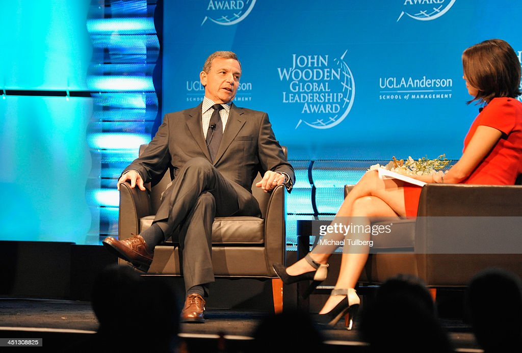 Walt Disney Company Chairman <a gi-track='captionPersonalityLinkClicked' href=/galleries/search?phrase=Bob+Iger&family=editorial&specificpeople=171211 ng-click='$event.stopPropagation()'>Bob Iger</a> speaks at the 2013 John Wooden Global Leadership Awards hosted by the UCLA Anderson School of Management at The Beverly Hilton Hotel on November 21, 2013 in Beverly Hills, California.