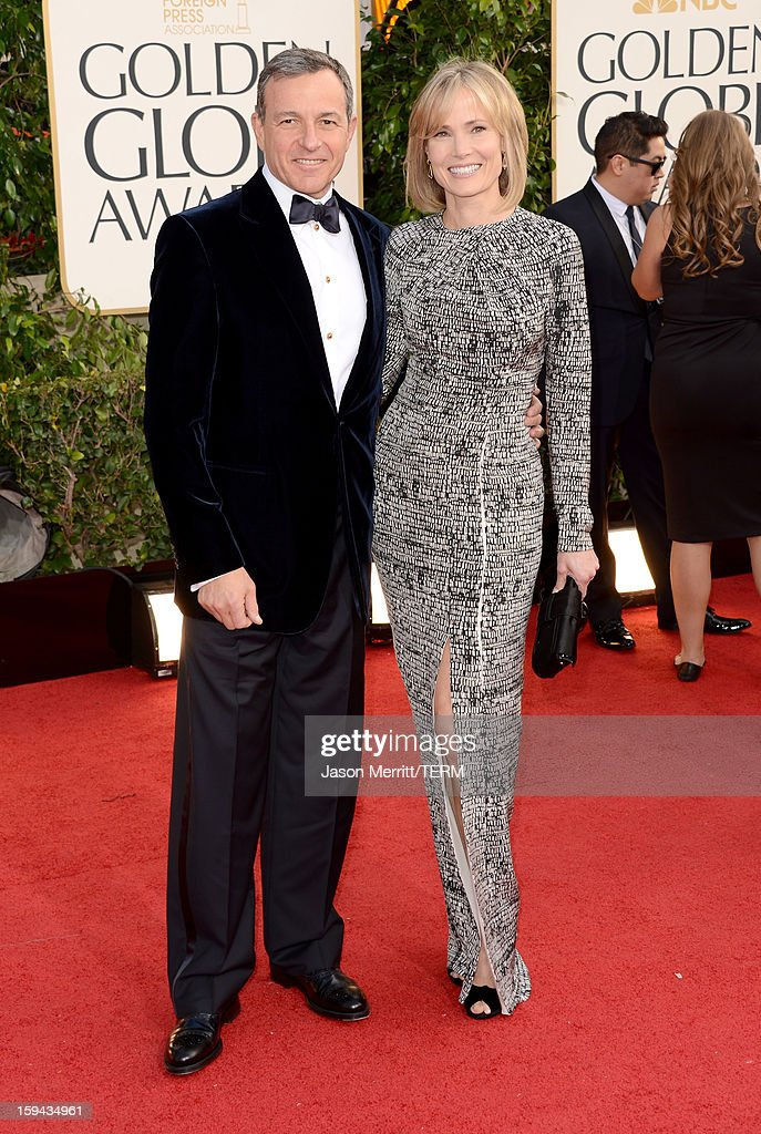 Walt Disney Company Chairman/CEO Robert Iger (L) and Willow Bay arrive at the 70th Annual Golden Globe Awards held at The Beverly Hilton Hotel on January 13, 2013 in Beverly Hills, California.