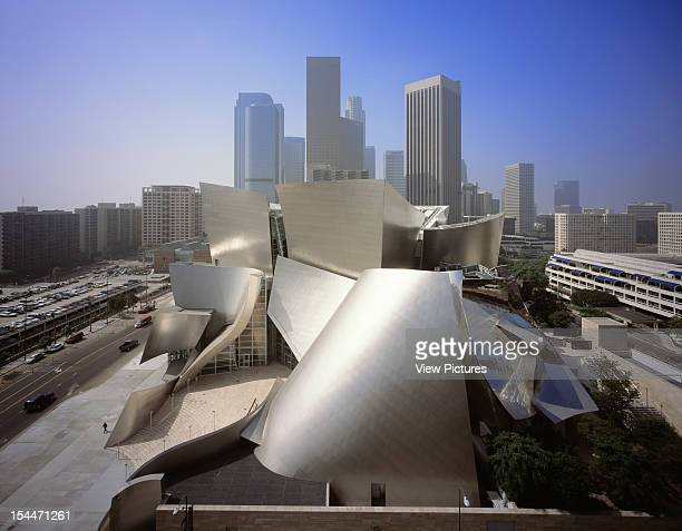 Walt Disney Concert Hall Los Angeles United States Architect Frank Gehry Walt Disney Concert Hall Elevated View Towards Downtown