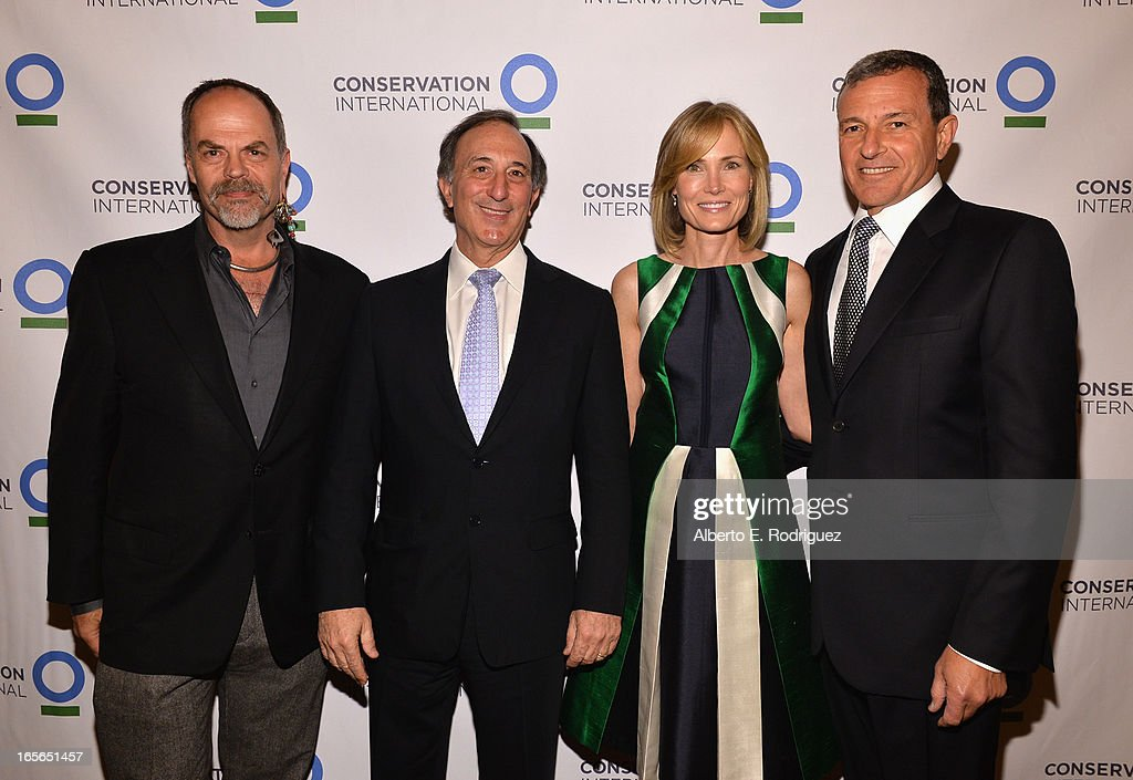 Walt Disney Imagineering executive Joe Rohde, Chairman and CEO of Conservation International Peter Seligmann, Senior Editor of The Huffington Post Willow Bay and Chairman and CEO of The Walt Disney Company Bob Igerattend Conservation International's 17th Annual Los Angeles Dinner at Montage Beverly Hills on April 4, 2013 in Beverly Hills, California.