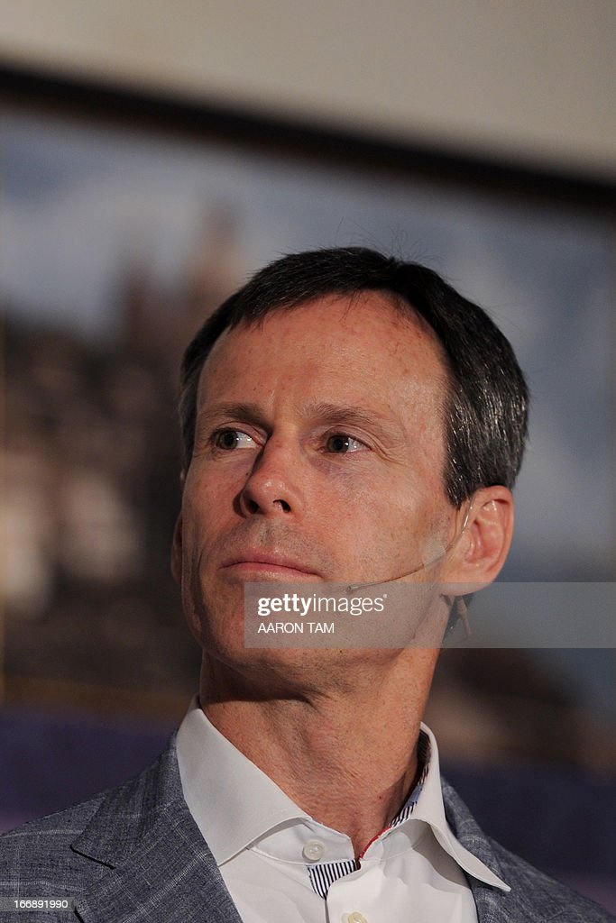 Walt Disney Parks and Resorts chairman Tom Staggs speaks to the press in Hong Kong during the unveiling of the new 'Mystic Point' attraction at the city's Disneyland on April 18, 2013. Hong Kong's once struggling Disneyland in February said it made a profit in 2012 for the first time since opening eight years ago, thanks to a surge in revenue as it welcomed a record number of visitors.