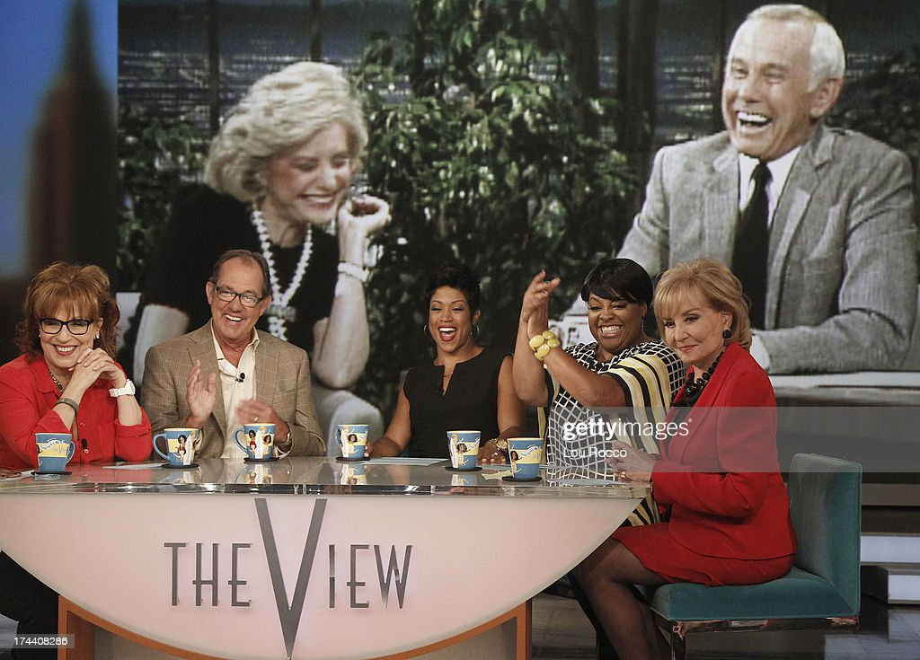 Affiliate WLS-Chicago's Val Warner guest co-hosts; Oscar® winner Cate Blanchett; Johnny Carson's nephew, Jeff Sotzing; performance by J. Cole appeared today, July 23, 2013 on 'The View.' 'The View' airs Monday-Friday (11:00 am-12:00 pm, ET) on the ABC Television Network. (Photo by Lou Rocco/ABC via Getty Images) BARBARA