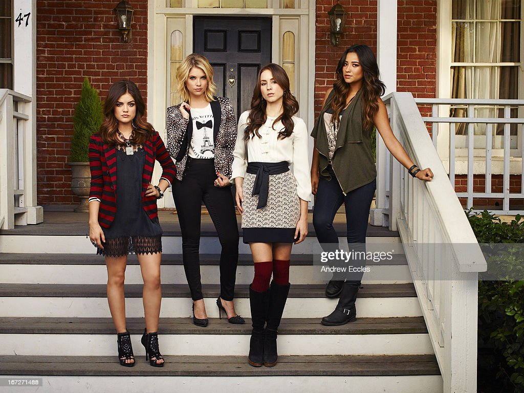 Family Family's 'Pretty Little Liars' stars Lucy Hale as Aria Montgomery, Ashley Benson as Hanna Marin, Troian Bellisario as Spencer Hastings and Shay Mitchell as Emily Fields.