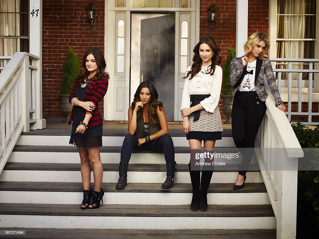Family Family's 'Pretty Little Liars' stars Lucy Hale as Aria Montgomery, Shay Mitchell as Emily Fields, Troian Bellisario as Spencer Hastings and Ashley Benson as Hanna Marin.