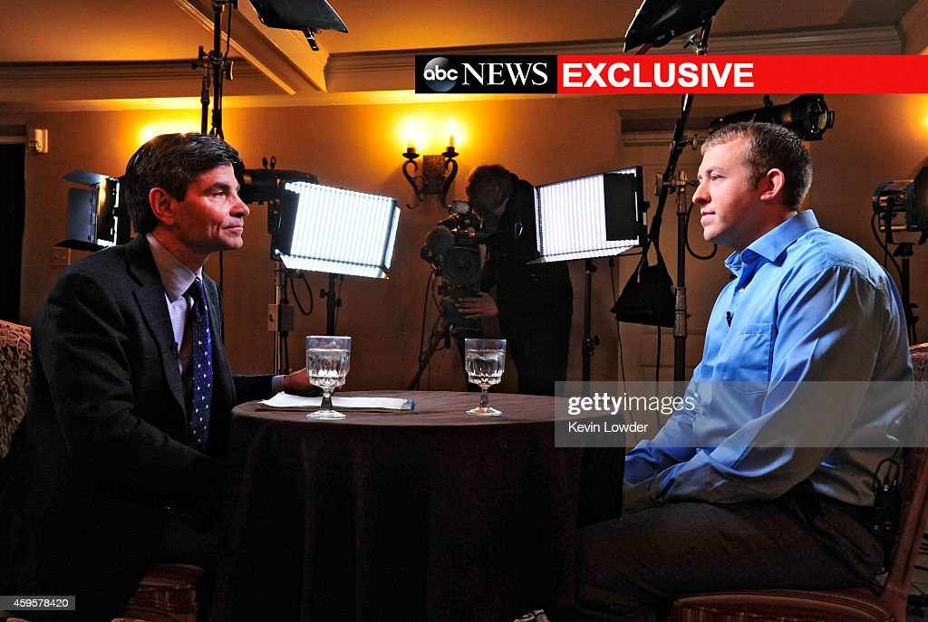 ABC NEWS - 11/25/14 - In an exclusive interview with ABC News' <a gi-track='captionPersonalityLinkClicked' href=/galleries/search?phrase=George+Stephanopoulos&family=editorial&specificpeople=206404 ng-click='$event.stopPropagation()'>George Stephanopoulos</a>, police officer <a gi-track='captionPersonalityLinkClicked' href=/galleries/search?phrase=Darren+Wilson+-+Police+Officer&family=editorial&specificpeople=13495859 ng-click='$event.stopPropagation()'>Darren Wilson</a> breaks his silence about the shooting of Michael Brown, which will air on WORLD NEWS TONIGHT, NIGHTLINE and GOOD MORNING AMERICA (on 11/26/14) as well as all ABC News programs and platforms. (Photo by Kevin Lowder/ABC via Getty Images)GEORGE