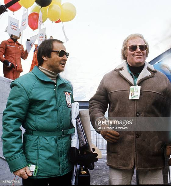 Winter Olympics 1/20/76 ABC sportscaster Jim McKay and Roone Arledge at the site of the XII Olympic Winter Games in Innsbruck Austria