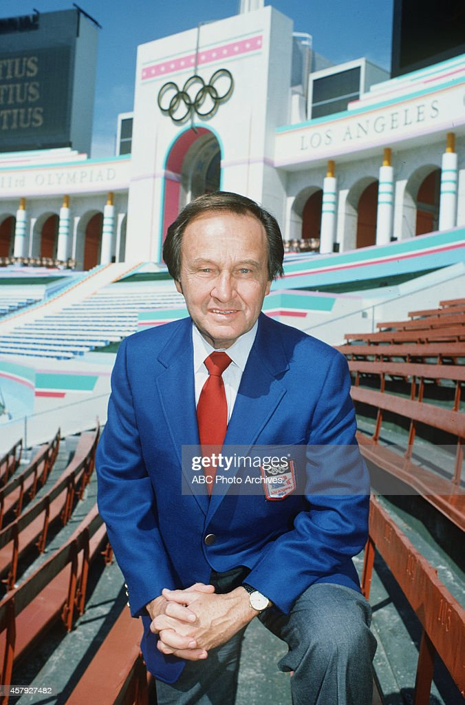 Summer Olympics - 7/11/84 ABC sportscaster Jim McKay before the scheduled opening ceremonies (7/28) of the Games of the XXIII Olympiad, at the Los Angeles Memorial Coliseum.