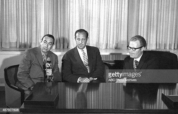 Commissioner Pete Rozelle and ABC Sports chief Roone Arledge announce the creation of 'Monday Night Football' which has become the longest running...