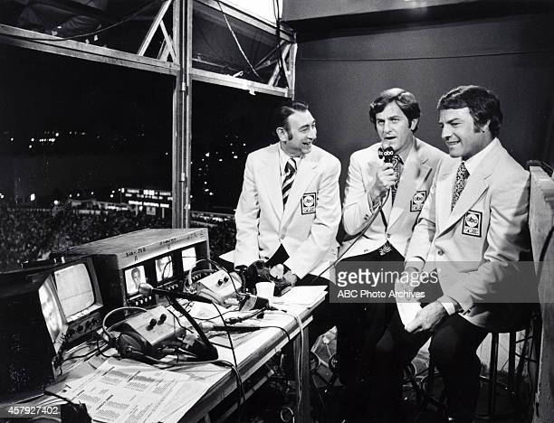 ABC sportscasters Howard Cosell Don Meredith and Frank Gifford at the NY Giants vs Dallas Cowboys game won by the Cowboys 2013