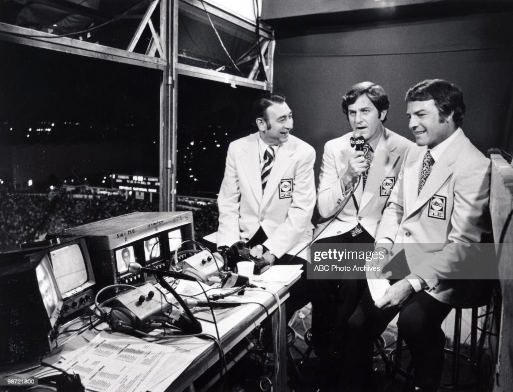 ABC sportscasters Howard Cosell, Don Meredith and Frank Gifford at the N.Y. Giants vs. Dallas Cowboys game, won by the Cowboys 20-13. (Photo by ABC Photo Archives/ABC via Getty Images) HOWARD
