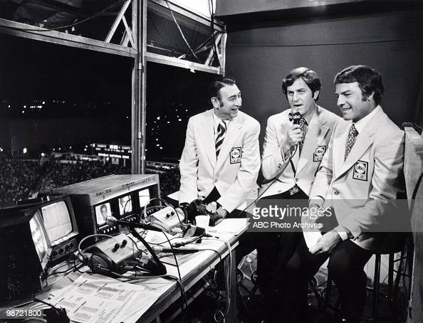 ABC sportscasters Howard Cosell Don Meredith and Frank Gifford at the NY Giants vs Dallas Cowboys game won by the Cowboys 2013 HOWARD