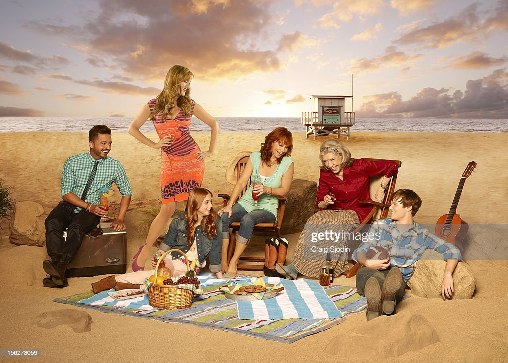 COUNTRY - ABC's 'Malibu Country' stars Reba as Reba (also executive producer), Lily Tomlin as Lillie Mae, Sara Rue as Kim, Justin Prentice as Cash, Juliette Angelo as June and Jai Rodriguez as Geoffrey. Photo by Craig Sjodin/ABC via Getty Images)