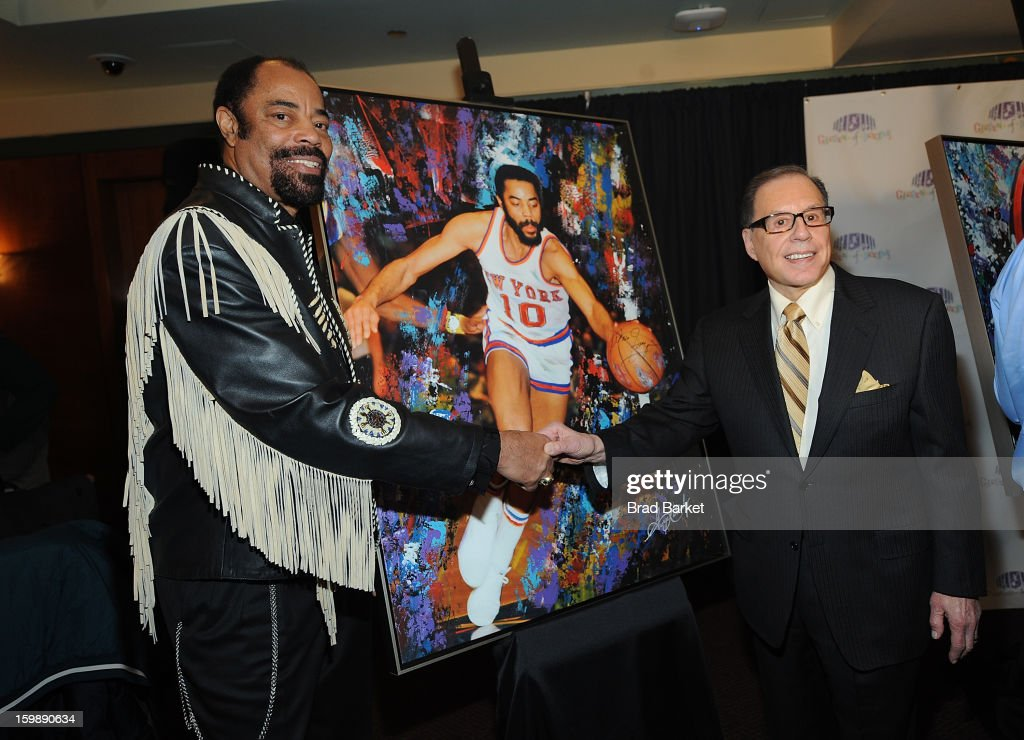 Walt Frasier and George Kalinsky attend the Garden of Dreams Foundation press conference at Madison Square Garden on January 22 2013 in New York City