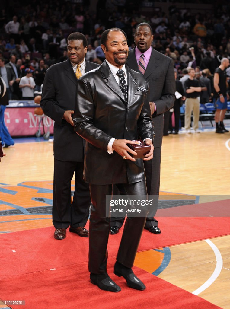 Walt Frazier Bernard King and Patrick Ewing attend Knicks Legends Awards ceremony during halftime of the Orlando Magic vs New York Knicks game at...