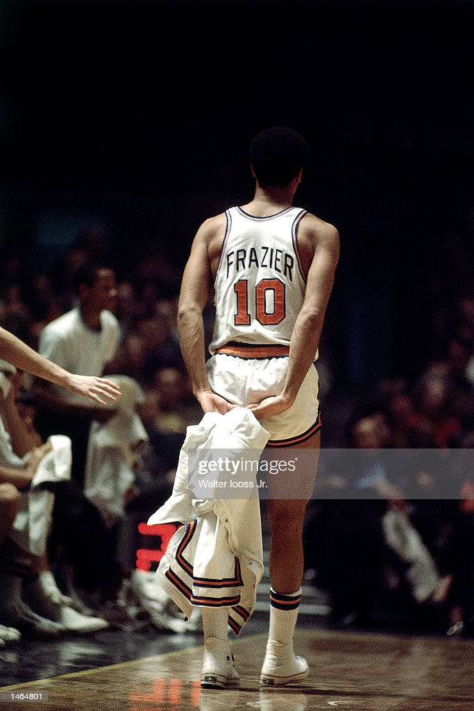Walt Frazier #10 of the New york Knicks walks off court at Madison Square Garden in New York, NY.