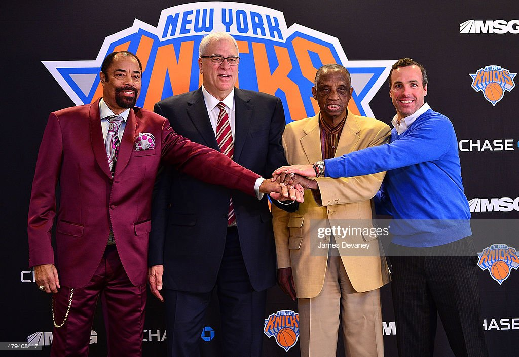 Walt Frazier Phil Jackson Dick Barnett and Peter DeBusschere attend New York Knicks press conference announcing Phil Jackson as team President at...