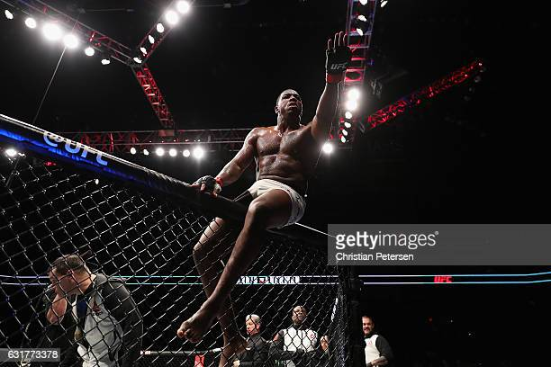 Walt Harris celebrates his technical knock out victory over Chase Sherman during the UFC Fight Night event at the at Talking Stick Resort Arena on...