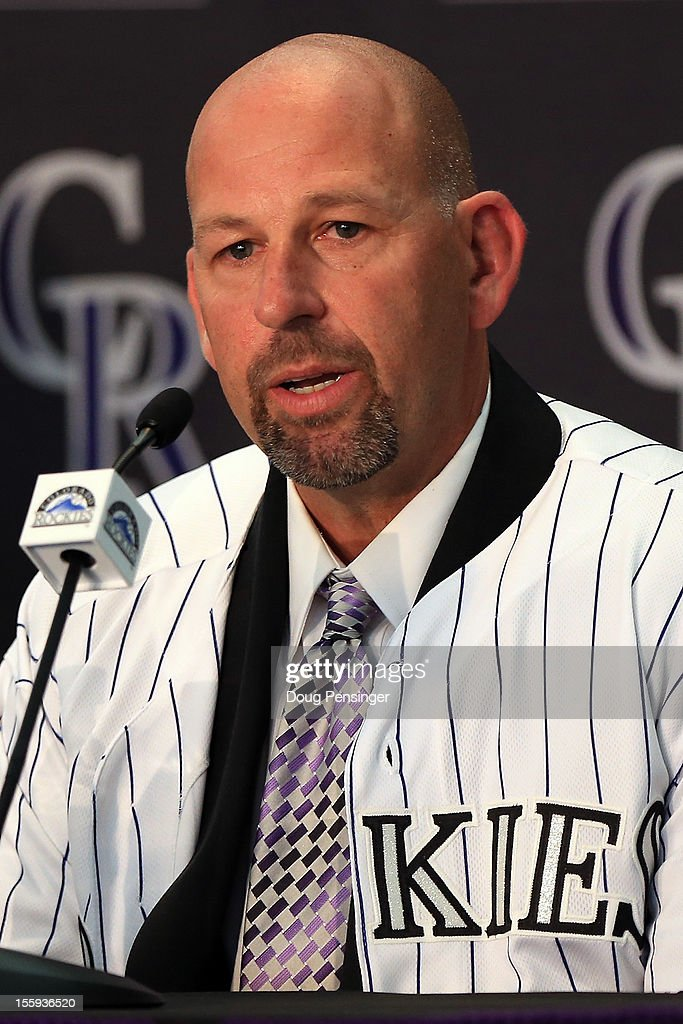 Walt Weiss addresses the media after he as named the manager of the Colorado Rockies during press conference at Coors Field on November 9, 2012 in Denver, Colorado.