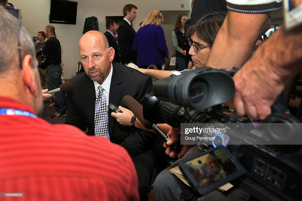 <a gi-track='captionPersonalityLinkClicked' href=/galleries/search?phrase=Walt+Weiss&family=editorial&specificpeople=239045 ng-click='$event.stopPropagation()'>Walt Weiss</a> talks to the media as he was named the manager of the Colorado Rockies during a press conference at Coors Field on November 9, 2012 in Denver, Colorado.