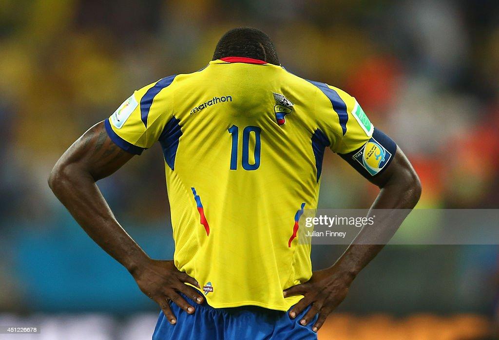 Walter Ayovi of Ecuador reacts after a 0-0 draw during the 2014 FIFA World Cup Brazil Group E match between Ecuador and France at Maracana on June 25, 2014 in Rio de Janeiro, Brazil.