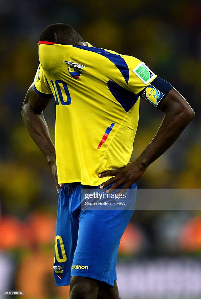 Walter Ayovi of Ecuador reacts after the 0-0 draw in the 2014 FIFA World Cup Brazil Group E match between Ecuador and France at Maracana on June 25, 2014 in Rio de Janeiro, Brazil.