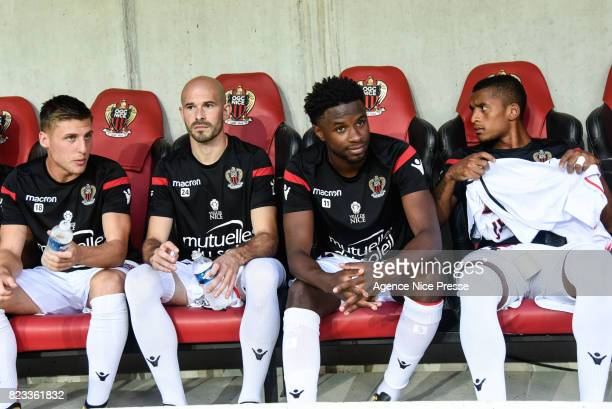 Walter Benitez Remi Walter Christophe Jallet and Adrien Tameze of Nice during the UEFA Champions League Qualifying match between Nice and Ajax...